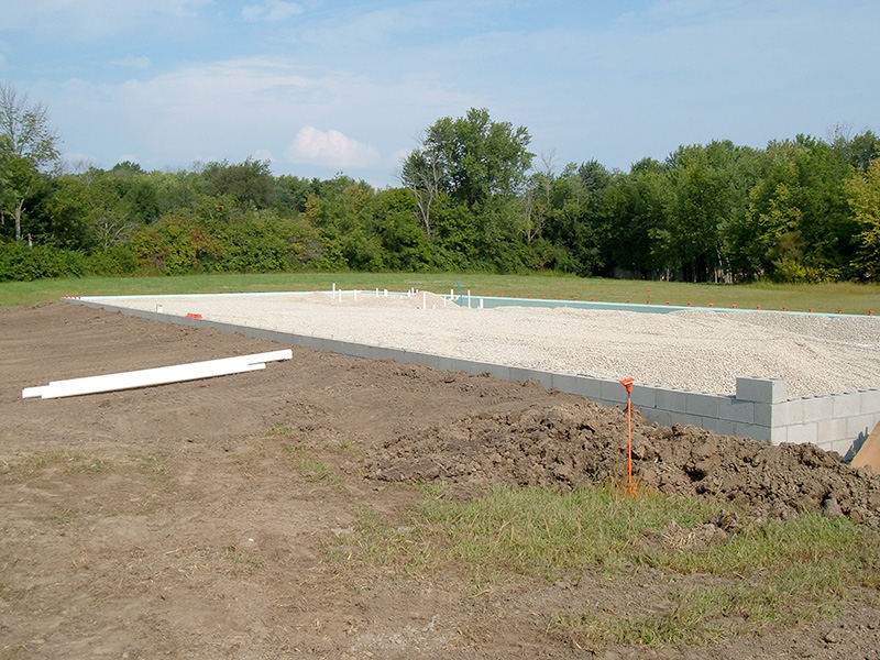 Foundation looking north-west with fresh gravel